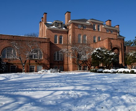 Holladay Hall on a snowy day. PHOTO BY ROGER WINSTEAD