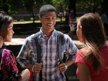 Students talking in the Brickyard