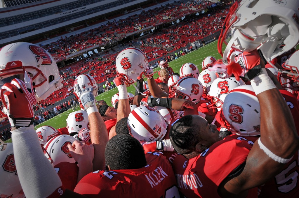 NC State Football Players at a game