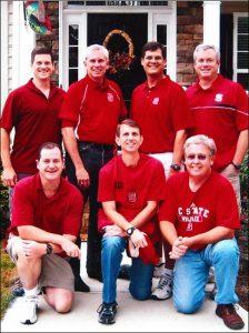 Resident Advisors 20+ years after graduation. Front Row: Brad Willett, Robert Stasko, Mike Blackwell Back Row: Chase Willett, Sam Spilman, Greg Williams, Tim Scronce