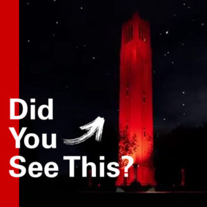 Picture of the Memorial Belltower lit red