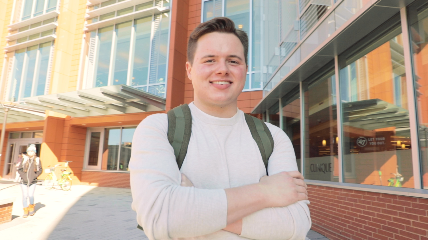 Reid Harris stands in front of Talley student center