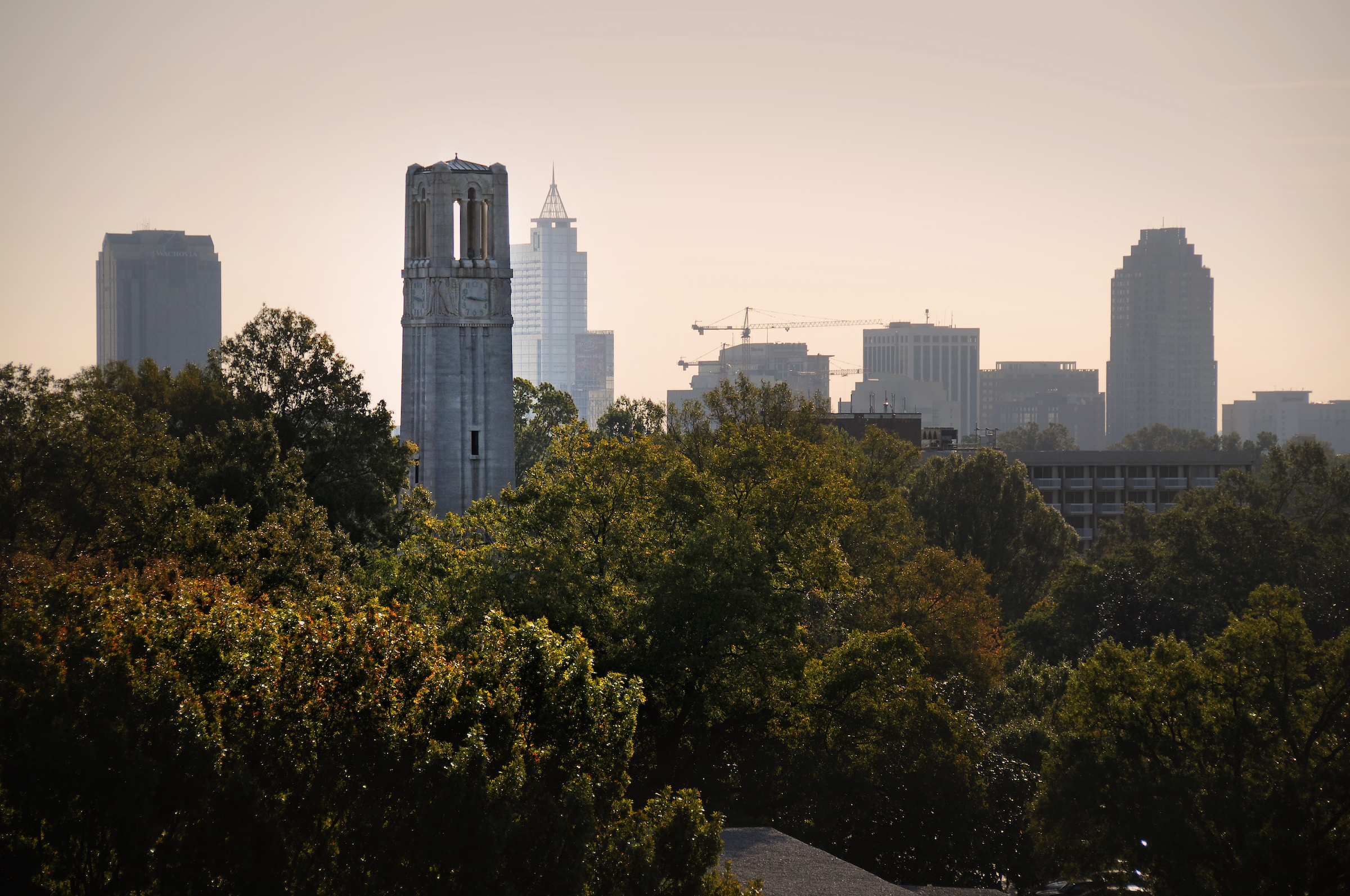 Belltower with Downtown Raleigh in the background.
