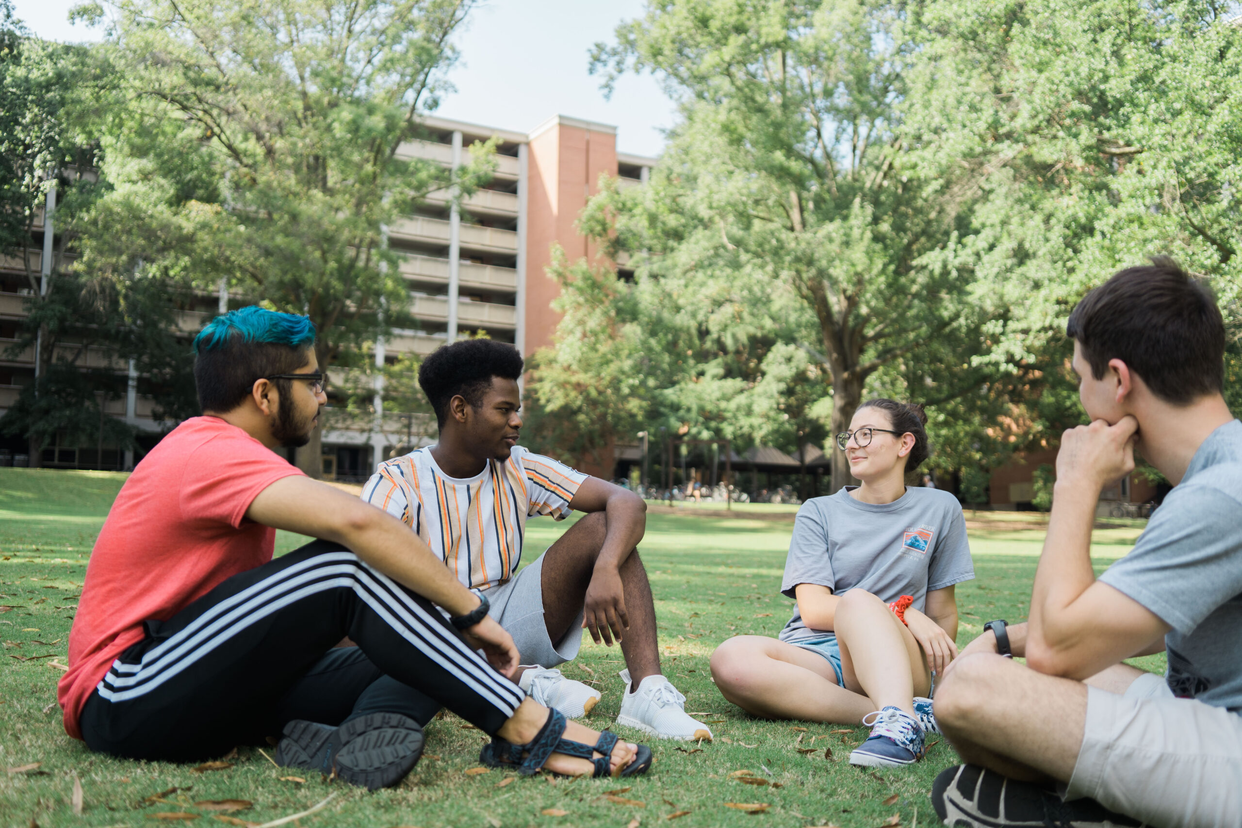 Students talking in the common area outside of Lee Hall.