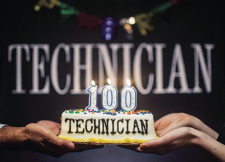 Technician 100 cake at celebration