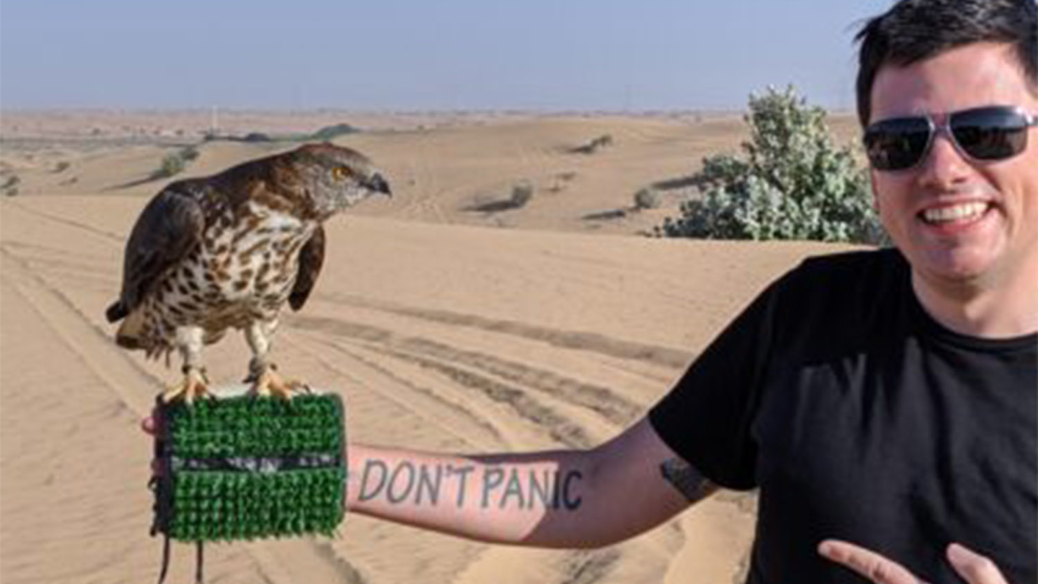 Chris Tomso in the desert outside of Dubai on a recent trip for Emirates Mars Mission