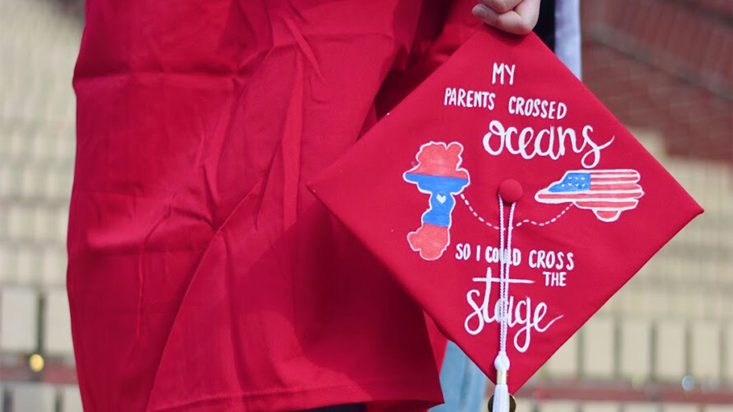"A graduation cap that reads ""My grandparents crossed oceans so I could cross the stage"""