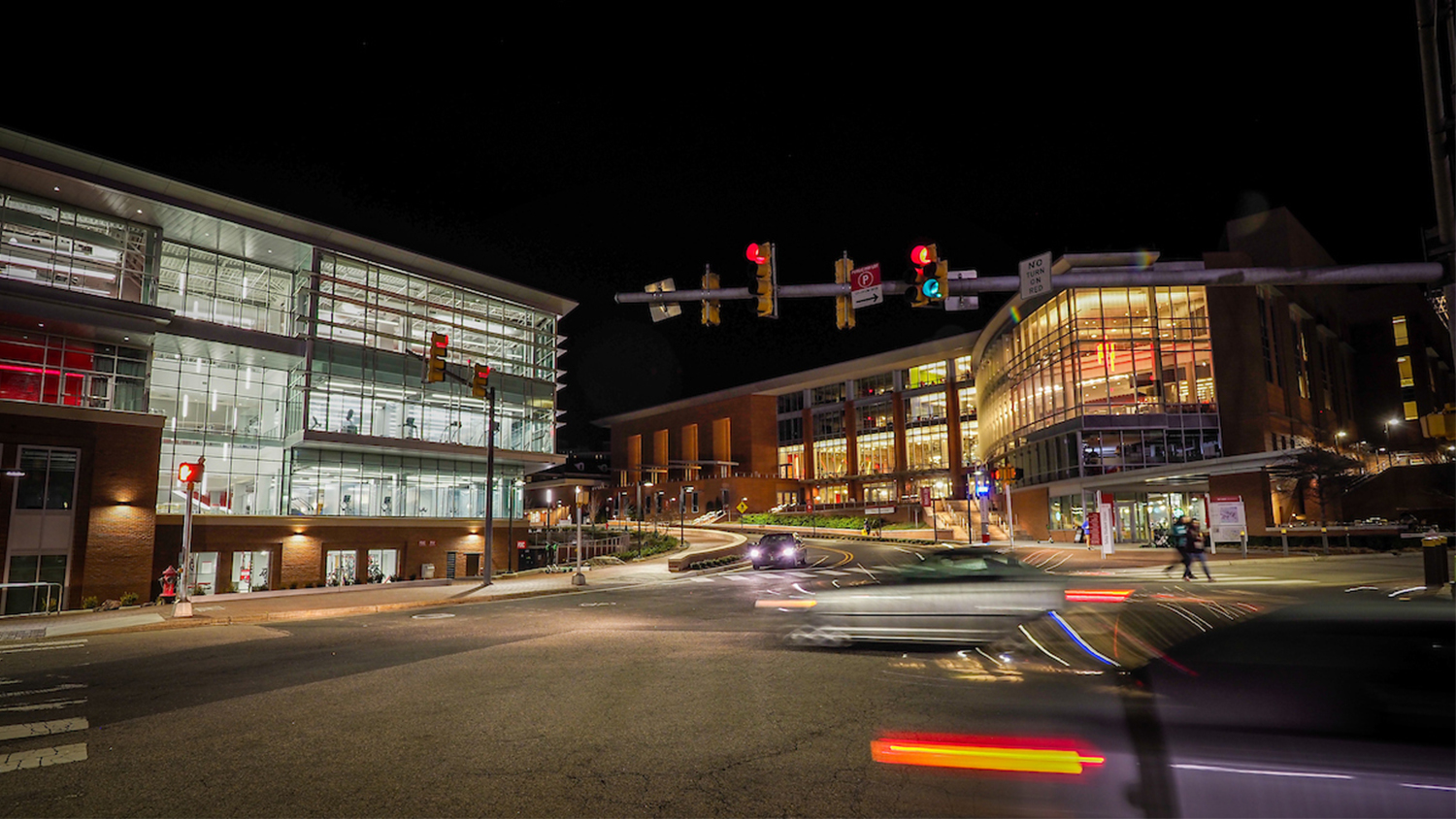 Talley Student Union and the Wellness and Recreation Center at night