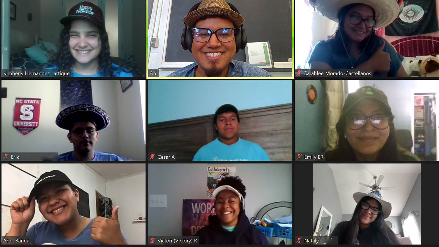 A screenshot of a Zoom call with nine participants, all wearing hats
