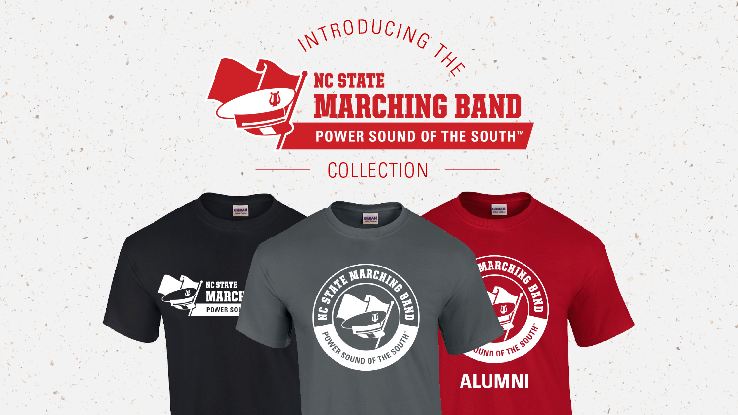 """Three T-shirts with """"NC State Marching Band - Power Sound of the South"""" written on them, along with a logo showing marching band hat and flag"""