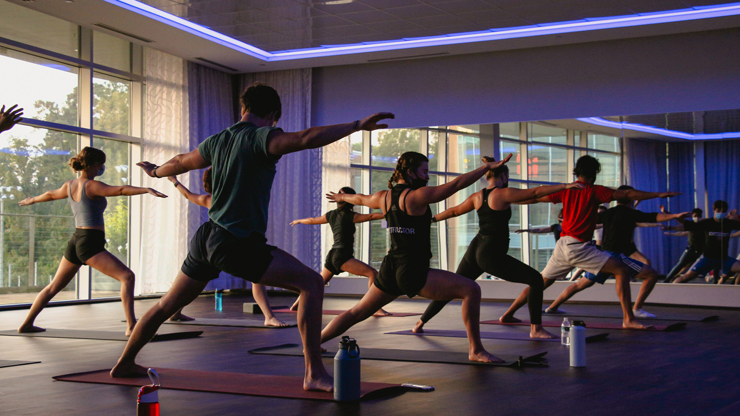 A yoga class in the new Wellness and Recreation Center